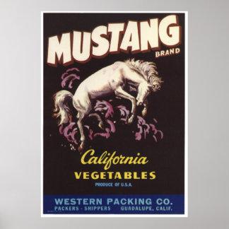 Vintage Old Mustang Vegetables Crate Labels Ad Poster