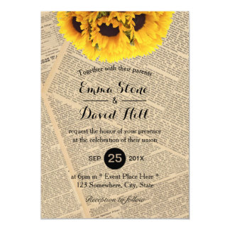 Vintage Old Newspaper Country Sunflower Wedding Card