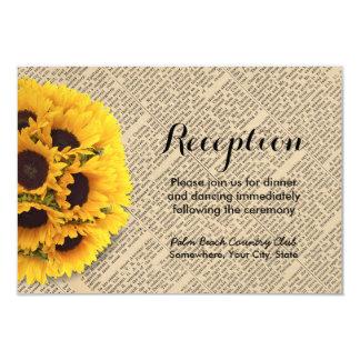 Vintage Old Newspaper Sunflower Wedding Reception Card