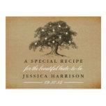 Vintage Old Oak Tree Bridal Shower Recipe Postcard
