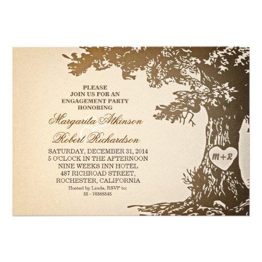 vintage old oak tree engagement party invitations