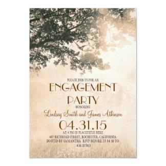 Vintage old oak tree & love birds engagement party card