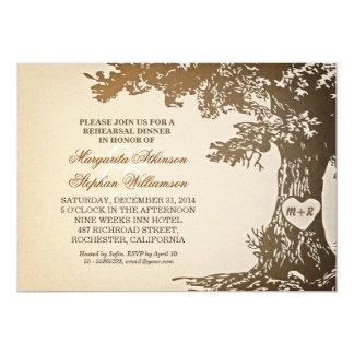 vintage old oak tree rehearsal dinner invitations