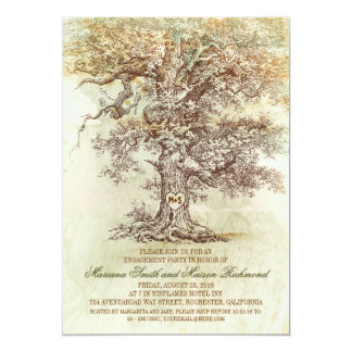 Vintage old oak tree rustic ENGAGEMENT PARTY Card