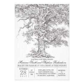 Vintage old oak tree rustic wedding invitations personalized invite
