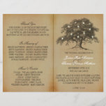 """Vintage Old Oak Tree Wedding Collection - Program<br><div class=""""desc"""">These vintage old oak tree wedding bi-fold programs are perfect for any couple planning a romantic antique themed marriage. The design features a vintage old oak tree with glowing white lights and is finished with a vintage style background. Easily personalize this program template by adding your custom wording to the...</div>"""