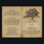 """Vintage Old Oak Tree Wedding Collection - Program Flyer<br><div class=""""desc"""">These vintage old oak tree wedding bi-fold programs are perfect for any couple planning a romantic antique themed marriage. The design features a vintage old oak tree with glowing white lights and is finished with a vintage style background. Easily personalize this program template by adding your custom wording to the...</div>"""