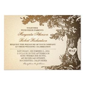 vintage old oak tree wedding invitations 5