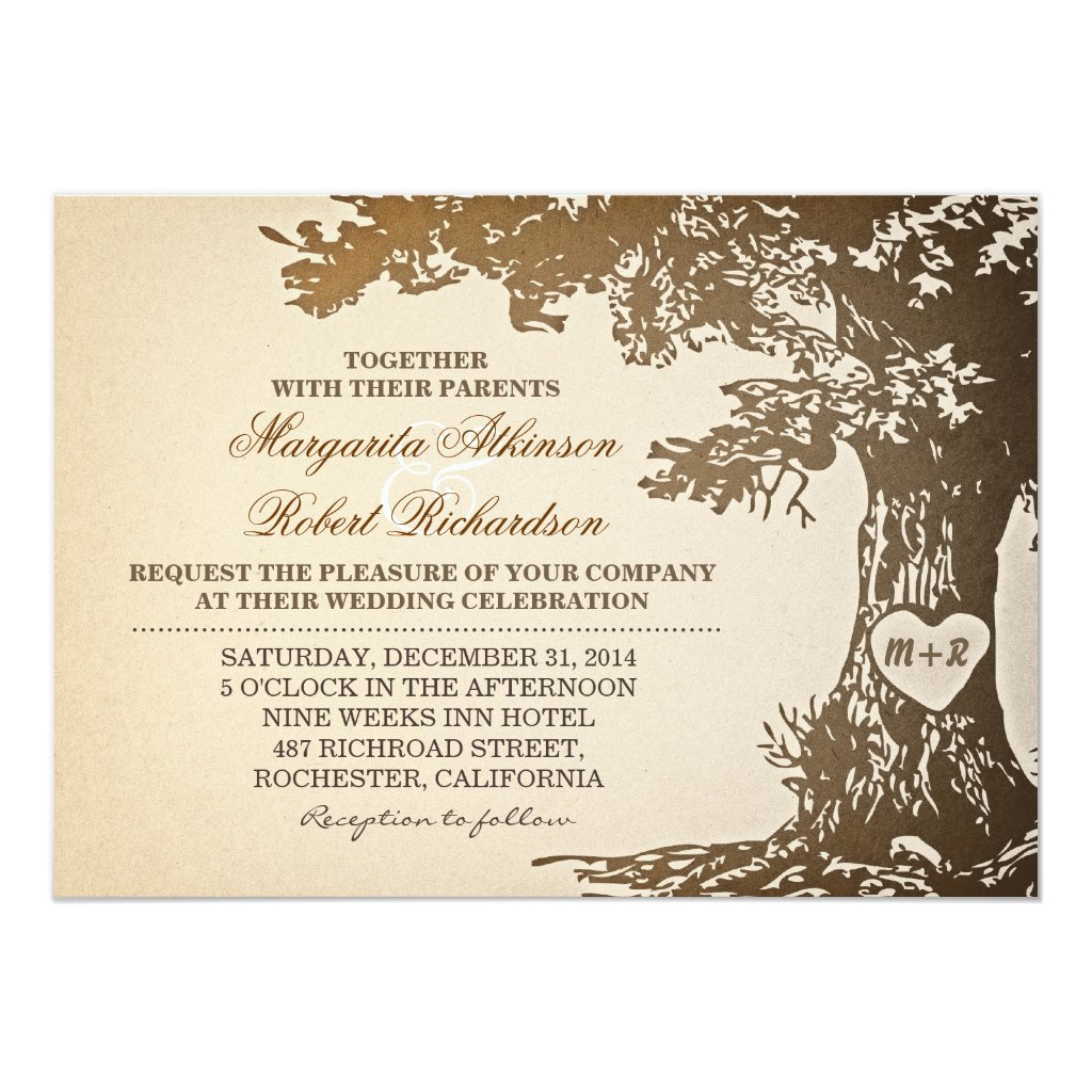 Vintage Old Oak Tree Wedding Invitation