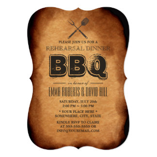 Vintage Old Paper BBQ Rehearsal Dinner 5x7 Paper Invitation Card