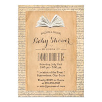 Vintage Old Paper Bring a Book Request Baby Shower Card