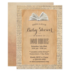Vintage Old Paper Bring a Book Request Baby Shower Invitation