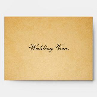 Vintage Old Paper Look Wedding Vows Envelope