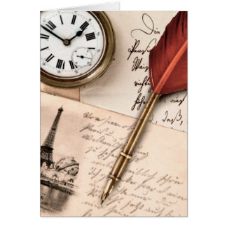 Vintage Old Paper Pen Watch Writing Stamp Postcard