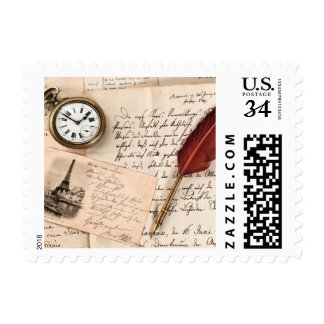 Vintage Old Paper Pen Watch Writing Stamp Postcard
