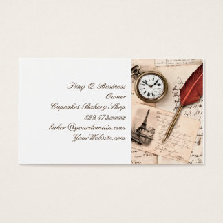 Vintage Old Paper Pen Watch Writing Stamp Postcard Business Card