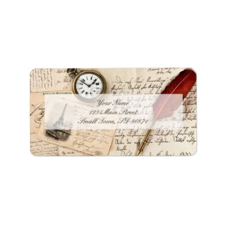 Vintage Old Paper Pen Watch Writing Stamp Postcard Label