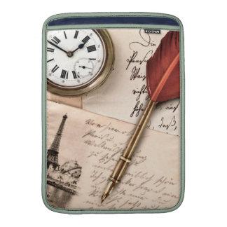Vintage Old Paper Pen Watch Writing Stamp Postcard MacBook Sleeve