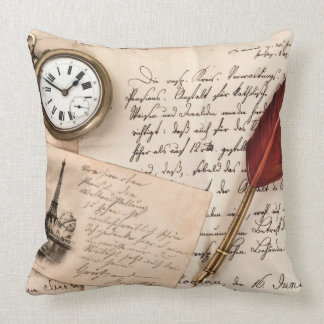 Vintage Old Paper Pen Watch Writing Stamp Postcard Pillow