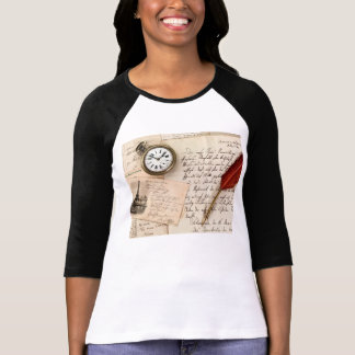 Vintage Old Paper Pen Watch Writing Stamp Postcard T-Shirt