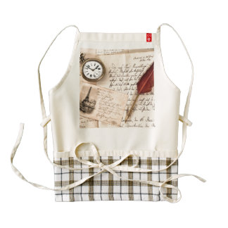 Vintage Old Paper Pen Watch Writing Stamp Postcard Zazzle HEART Apron