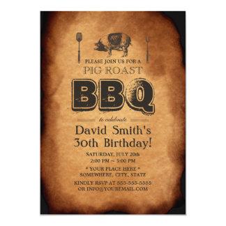 "Vintage Old Paper Pig Roast BBQ Birthday Party 5"" X 7"" Invitation Card"