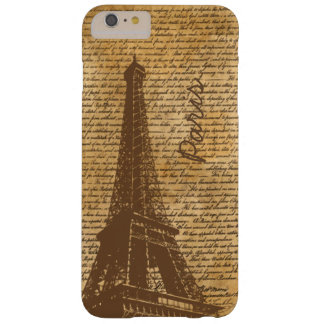 Vintage Old Paris Eiffel Tower Custom Name Barely There iPhone 6 Plus Case