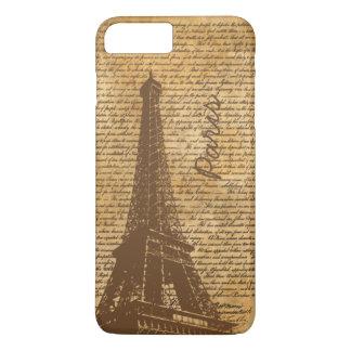 Vintage Old Paris Eiffel Tower Custom Name iPhone 7 Plus Case