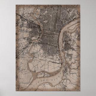 Vintage Old Philadelphia 1898 Map Poster