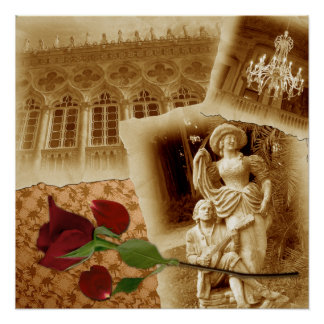 Vintage Old Photos Rose Petals Shabby Chic Poster