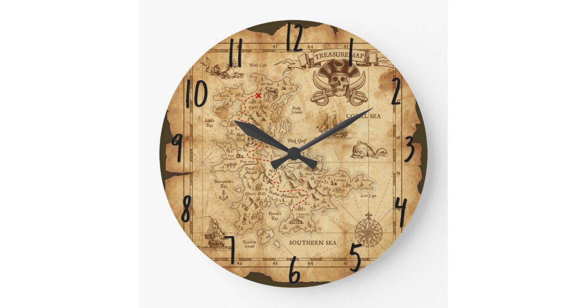 Vintage Old Pirate Treasure Map X Marks The Spot Large Clock