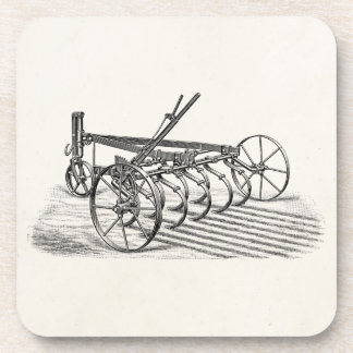 Vintage Old Plows Farm Equipment Agriculture Plow Drink Coaster