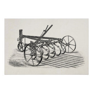 Vintage Old Plows Farm Equipment Agriculture Plow Poster