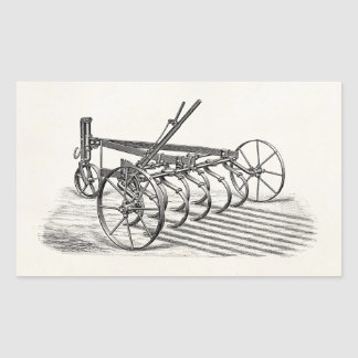 Vintage Old Plows Farm Equipment Agriculture Plow Rectangular Stickers