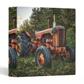 Vintage old red tractor 3 ring binder