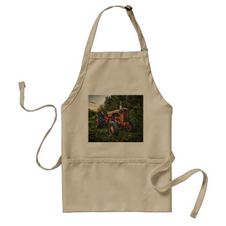 Vintage old red tractor adult apron