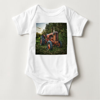 Vintage old red tractor baby bodysuit