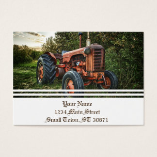 Vintage old red tractor business card