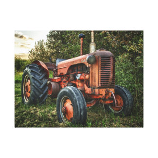 Vintage old red tractor canvas print