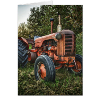 Vintage old red tractor card