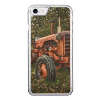 Vintage old red tractor carved iPhone 7 case