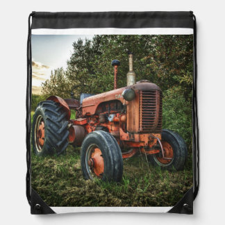 Vintage old red tractor drawstring bag