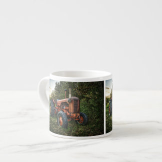 Vintage old red tractor espresso cup