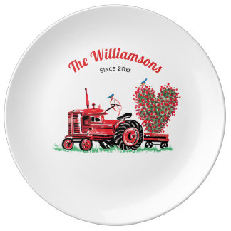 Vintage Old Red Tractor Floral Heart Add Name Dinner Plate