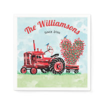 Vintage Old Red Tractor Floral Heart Add Name Napkins