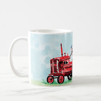 Vintage Old Red Tractor Floral Heart Coffee Mug