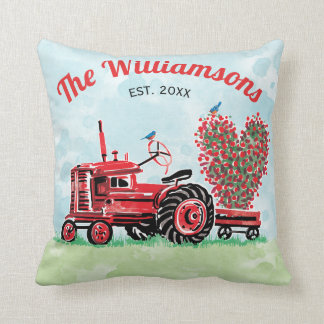 Vintage Old Red Tractor Floral Heart Name Year Throw Pillow