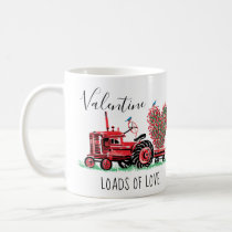Vintage Old Red Tractor Floral Heart Typography Coffee Mug