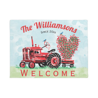 Vintage Old Red Tractor Floral Heart Welcome Doormat