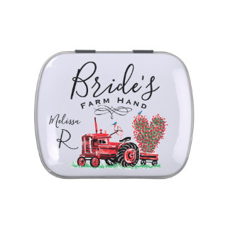 Vintage Old Red Tractor Heart Bride Farm Hand Candy Tin